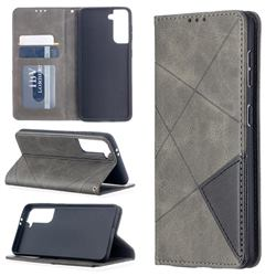 Prismatic Slim Magnetic Sucking Stitching Wallet Flip Cover for Samsung Galaxy S21 - Gray