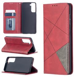 Prismatic Slim Magnetic Sucking Stitching Wallet Flip Cover for Samsung Galaxy S21 - Red