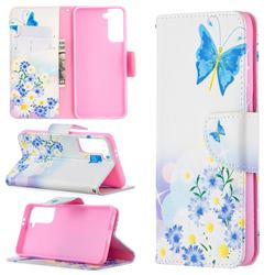 Butterflies Flowers Leather Wallet Case for Samsung Galaxy S21