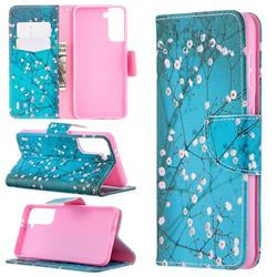 Blue Plum Leather Wallet Case for Samsung Galaxy S21