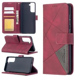Binfen Color BF05 Prismatic Slim Wallet Flip Cover for Samsung Galaxy S21 - Red