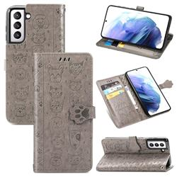 Embossing Dog Paw Kitten and Puppy Leather Wallet Case for Samsung Galaxy S21 - Gray