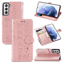 Embossing Dog Paw Kitten and Puppy Leather Wallet Case for Samsung Galaxy S21 - Rose Gold
