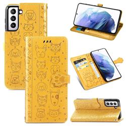Embossing Dog Paw Kitten and Puppy Leather Wallet Case for Samsung Galaxy S21 - Yellow