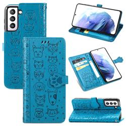 Embossing Dog Paw Kitten and Puppy Leather Wallet Case for Samsung Galaxy S21 - Blue