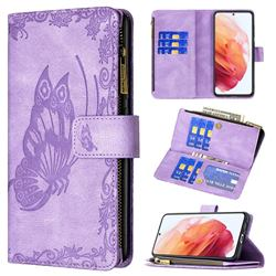 Binfen Color Imprint Vivid Butterfly Buckle Zipper Multi-function Leather Phone Wallet for Samsung Galaxy S21 - Purple