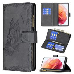Binfen Color Imprint Vivid Butterfly Buckle Zipper Multi-function Leather Phone Wallet for Samsung Galaxy S21 - Black