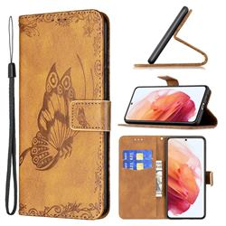 Binfen Color Imprint Vivid Butterfly Leather Wallet Case for Samsung Galaxy S21 - Brown
