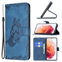 Binfen Color Imprint Vivid Butterfly Leather Wallet Case for Samsung Galaxy S21 - Blue