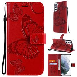 Embossing 3D Butterfly Leather Wallet Case for Samsung Galaxy S21 - Red