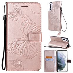 Embossing 3D Butterfly Leather Wallet Case for Samsung Galaxy S21 - Rose Gold