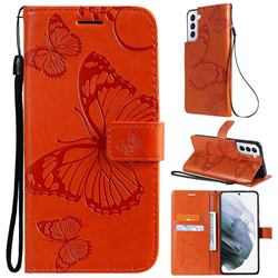 Embossing 3D Butterfly Leather Wallet Case for Samsung Galaxy S21 - Orange