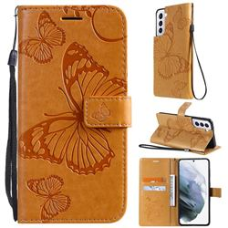 Embossing 3D Butterfly Leather Wallet Case for Samsung Galaxy S21 - Yellow