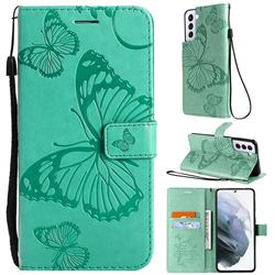 Embossing 3D Butterfly Leather Wallet Case for Samsung Galaxy S21 - Green