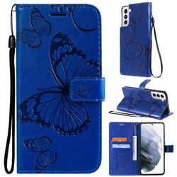 Embossing 3D Butterfly Leather Wallet Case for Samsung Galaxy S21 - Blue