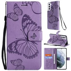 Embossing 3D Butterfly Leather Wallet Case for Samsung Galaxy S21 - Purple