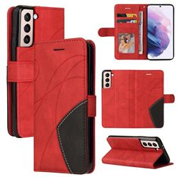 Luxury Two-color Stitching Leather Wallet Case Cover for Samsung Galaxy S21 - Red