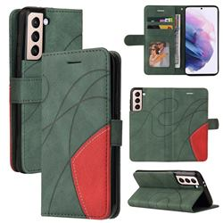 Luxury Two-color Stitching Leather Wallet Case Cover for Samsung Galaxy S21 - Green