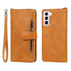Retro Multi-functional Detachable Leather Wallet Phone Case for Samsung Galaxy S21 - Brown
