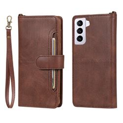 Retro Multi-functional Detachable Leather Wallet Phone Case for Samsung Galaxy S21 - Coffee