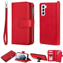 Retro Luxury Multifunction Zipper Leather Phone Wallet for Samsung Galaxy S21 - Red