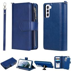 Retro Luxury Multifunction Zipper Leather Phone Wallet for Samsung Galaxy S21 - Blue