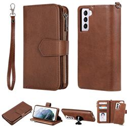 Retro Luxury Multifunction Zipper Leather Phone Wallet for Samsung Galaxy S21 - Brown