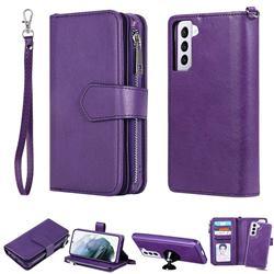 Retro Luxury Multifunction Zipper Leather Phone Wallet for Samsung Galaxy S21 - Purple