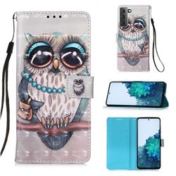 Sweet Gray Owl 3D Painted Leather Wallet Case for Samsung Galaxy S21