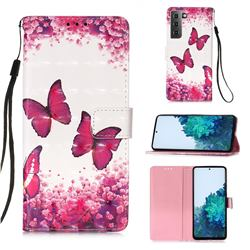 Rose Butterfly 3D Painted Leather Wallet Case for Samsung Galaxy S21