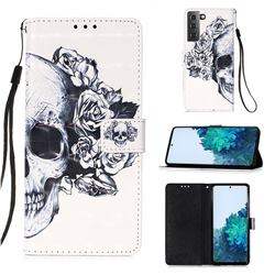 Skull Flower 3D Painted Leather Wallet Case for Samsung Galaxy S21