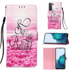 Beautiful 3D Painted Leather Wallet Case for Samsung Galaxy S21