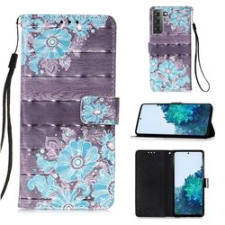Blue Flower 3D Painted Leather Wallet Case for Samsung Galaxy S21