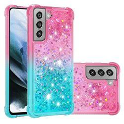 Rainbow Gradient Liquid Glitter Quicksand Sequins Phone Case for Samsung Galaxy S21 FE - Pink Blue