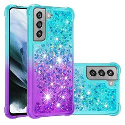 Rainbow Gradient Liquid Glitter Quicksand Sequins Phone Case for Samsung Galaxy S21 FE - Blue Purple