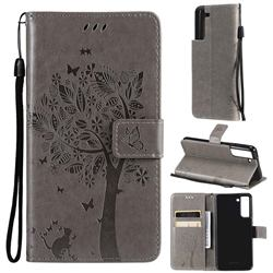 Embossing Butterfly Tree Leather Wallet Case for Samsung Galaxy S21 FE - Grey