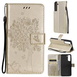 Embossing Butterfly Tree Leather Wallet Case for Samsung Galaxy S21 FE - Champagne