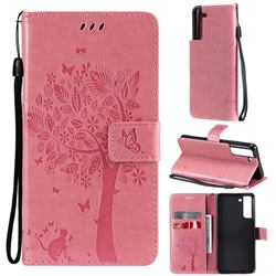 Embossing Butterfly Tree Leather Wallet Case for Samsung Galaxy S21 FE - Pink