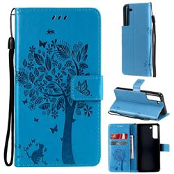 Embossing Butterfly Tree Leather Wallet Case for Samsung Galaxy S21 FE - Blue
