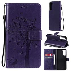 Embossing Butterfly Tree Leather Wallet Case for Samsung Galaxy S21 FE - Purple