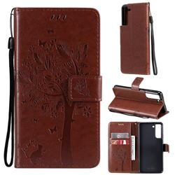 Embossing Butterfly Tree Leather Wallet Case for Samsung Galaxy S21 FE - Coffee