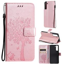 Embossing Butterfly Tree Leather Wallet Case for Samsung Galaxy S21 FE - Rose Pink
