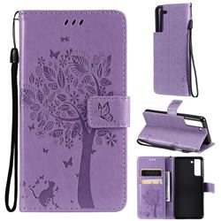Embossing Butterfly Tree Leather Wallet Case for Samsung Galaxy S21 FE - Violet
