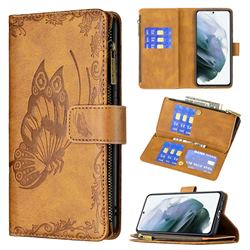 Binfen Color Imprint Vivid Butterfly Buckle Zipper Multi-function Leather Phone Wallet for Samsung Galaxy S21 FE - Brown