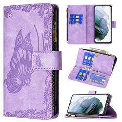 Binfen Color Imprint Vivid Butterfly Buckle Zipper Multi-function Leather Phone Wallet for Samsung Galaxy S21 FE - Purple
