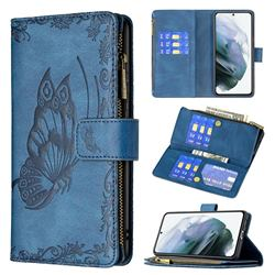 Binfen Color Imprint Vivid Butterfly Buckle Zipper Multi-function Leather Phone Wallet for Samsung Galaxy S21 FE - Blue
