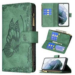 Binfen Color Imprint Vivid Butterfly Buckle Zipper Multi-function Leather Phone Wallet for Samsung Galaxy S21 FE - Green