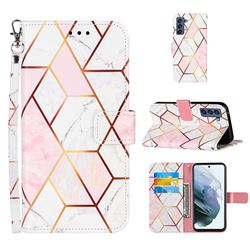 Pink White Stitching Color Marble Leather Wallet Case for Samsung Galaxy S21 FE