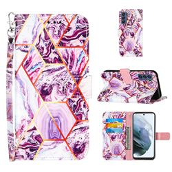 Dream Purple Stitching Color Marble Leather Wallet Case for Samsung Galaxy S21 FE