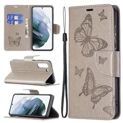 Embossing Double Butterfly Leather Wallet Case for Samsung Galaxy S21 FE - Gray